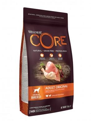 Корм Корм Wellness Core Medium Breed Adult Original для взрослых собак средних пород из индейки с курицей (1,8 кг)