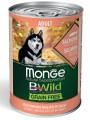 Беззерновые консервы Monge Dog BWild GRAIN FREE для взрослых собак всех пород из лосося с тыквой и кабачками 400г