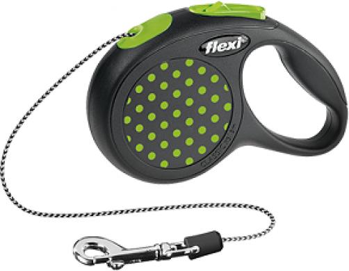 Рулетка Flexi Design XS трос, черная/зеленый горошек (до 8 кг*3 м)