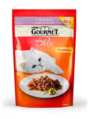 Паучи Gourmed mon Petit для кошек c ягненком (50гр)