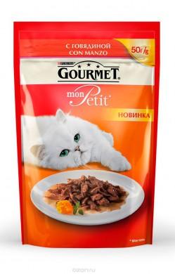 Паучи Gourmed mon Petit для кошек c говядиной (50гр)