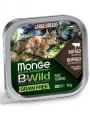 Беззерновые консервы Monge Cat BWild GRAIN FREE  из буйвола с овощами для кошек крупных пород 100г