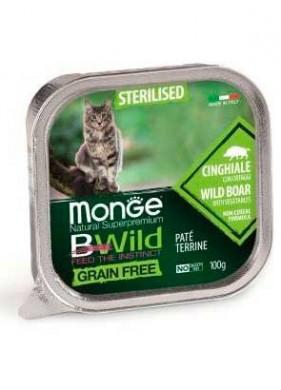 Беззерновые консервы Monge Cat BWild GRAIN FREE из кабана с овощами для стерилизованных кошек 100г