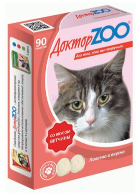 Витамины для кошек Доктор Зоо Ветчина (90т)