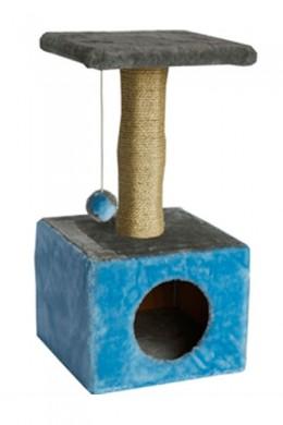 Дом для кошки квадратный голубой (30*30*60см)