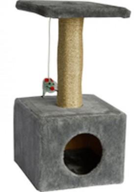 Дом для кошки квадратный серый (30*30*60см)