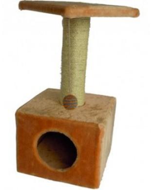 Дом-когтеточка квадратный, бежевый (30*30*60см)