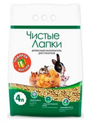 Древесный наполнитель Чистые лапки для грызунов, 4 л