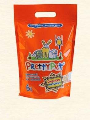 Древесный наполнитель Pretty Pet Wood Pellets&Carrot Chips с морковными чипсами для грызунов и птиц (6л/1,5кг)