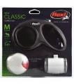 Flexi набор (Рулетка NEW Classic Basic М (до 20 кг) трос 5 м + LED фонарик + Multi-box), черный