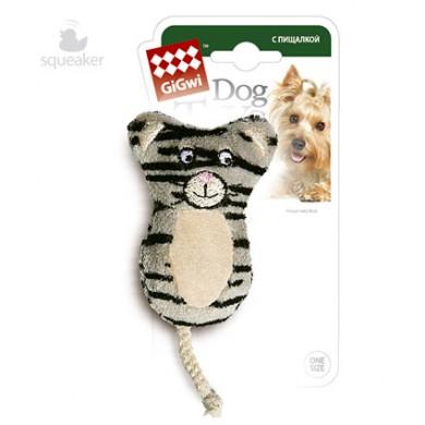 Игрушка для собак GiGwi Кот с 2-мя пищалками 9 см