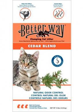 Комкующийся наполнитель Better Way Cedar Blend бентонит кедр 6,35 кг