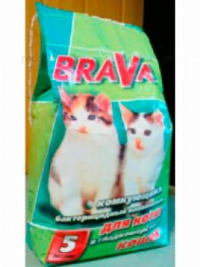 Комкующийся наполнитель Брава для гладкошерстных кошек (5л)