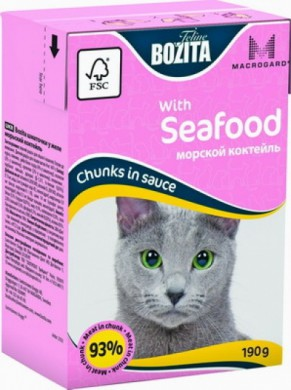 Консервы Bozita super premium MINI кусочки в соусе морской коктейль (190гр)
