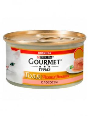 Консервы для кошек Gourmet Gold нежная начинка с лососем 85гр