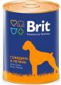 Консервы для собак Brit говядина и печень (850гр)
