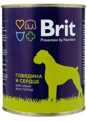 Консервы для собак Brit говядина и сердце (850гр)