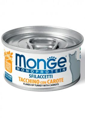 Консервы Monge Cat Monoprotein хлопья для кошек из индейки с морковью (80г)