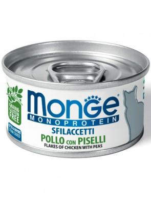Консервы Monge Cat Monoprotein хлопья для кошек из курицы с горошком (80г)