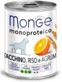 Консервы Monge Dog Monoproteico Fruits для собак паштет из индейки с рисом и цитрусовыми (400 г)