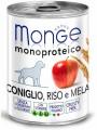 Консервы Monge Dog Monoproteico Fruits для собак паштет из кролика с рисом и яблоками (400 г)