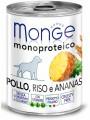 Консервы Monge Dog Monoproteico Fruits консервы для собак паштет из курицы с рисом и ананасами (400 г)
