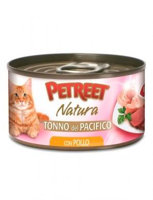 Консервы Petreet для кошек кусочки тихоокеанского тунца с курицей в рыбном бульоне 70 г