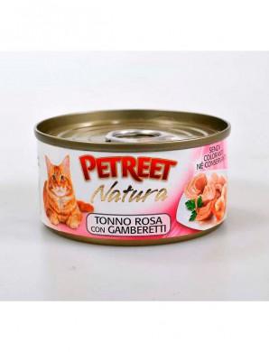 Консервы для кошек Petreet кусочки розового тунца с креветками 70 г