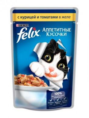 Корм для кошек Felix Аппетитные кусочки с курица и томат в желе (85гр)