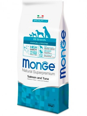 Корм Monge Dog Speciality Hypoallergenic для собак лосось с тунцом (12 кг)