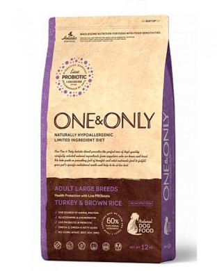 Корм One&Only Dog Turkey&Rice Large 12 кг