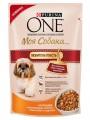 """Корм Purina One """"Моя Собака Любитель поесть"""" для взрослых собак мелких пород c Курицей, коричневым рисом и томатами в подливе (100гр)"""