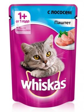 Корм Whiskas для кошек паштет лосось (85гр)