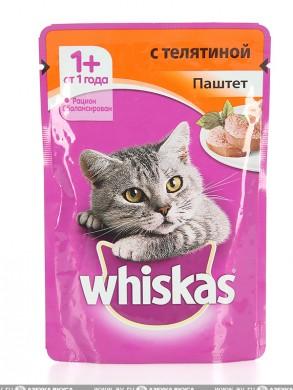 Корм Whiskas для кошек паштет телятина (85 гр)