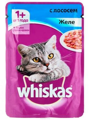 Корм Whiskas для кошек желе лосось (85гр)