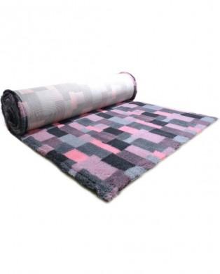 Коврик меховой ProFleece в Клетку 1х1,6 м угольно/розовый