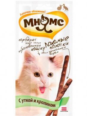 Лакомые палочки Мнямс для кошек Утка Кролик (13,5см*3шт)