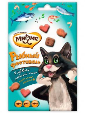 Лакомство Мнямс Рыбный фестиваль для кошек (лосось, креветки, форель) 50 г
