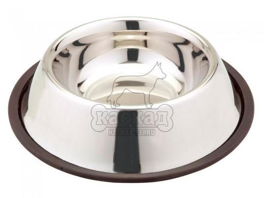 Миска для собак из нержавеющей стали на резине (0,71 л)