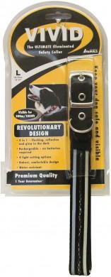 Ошейник светодиодный для собак VIVID M, черный (37-47 см)