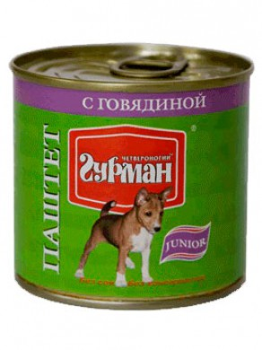 Паштет для щенков Четвероногий гурман с говядиной (240гр)