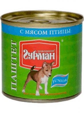 Паштет для щенков Четвероногий гурман с мясом птицы (240гр)