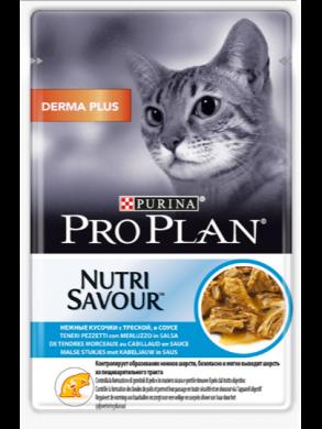 Пауч Pro Plan Derma Plus Cat с треской в соусе (85гр)