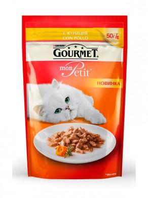 Паучи Gourmed mon Petit для кошек c курицей (50гр)