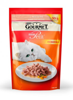 Паучи Gourmed mon Petit для кошек c лососем (50гр)