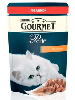 Паучи Gourmed Perl для кошек с говядиной (85гр)