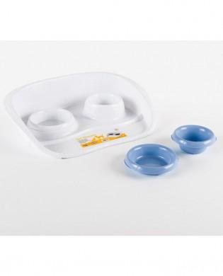 Подставка с мисками Set Dinner бело-голубая, 0,2 и 0,3л