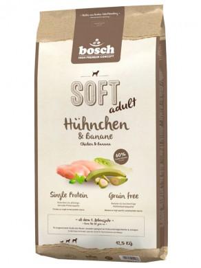 Полувлажный корм Bosch Soft для взрослых собак всех пород с чувствительным пищеварением с курицей и бананами (12,5кг)