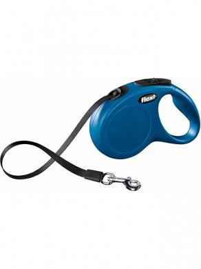 Рулетка Flexi New Classic XS ремень, синяя (3м*12кг)