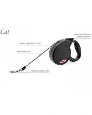 Рулетка для кошек Flexi Cat Classic трос, черная (длина 3м, нагрузка 8кг)